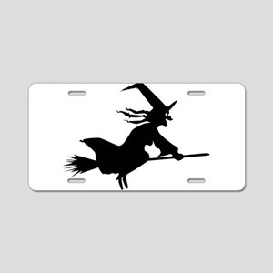 Silhouette Witch Aluminum License Plate