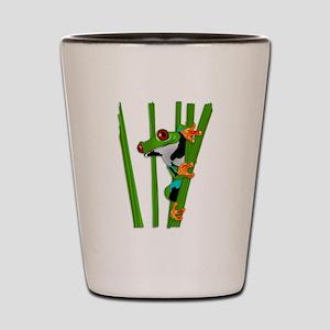 Cute frog on grass Shot Glass