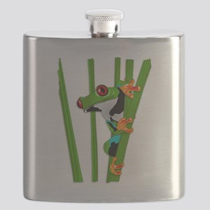 Cute frog on grass Flask