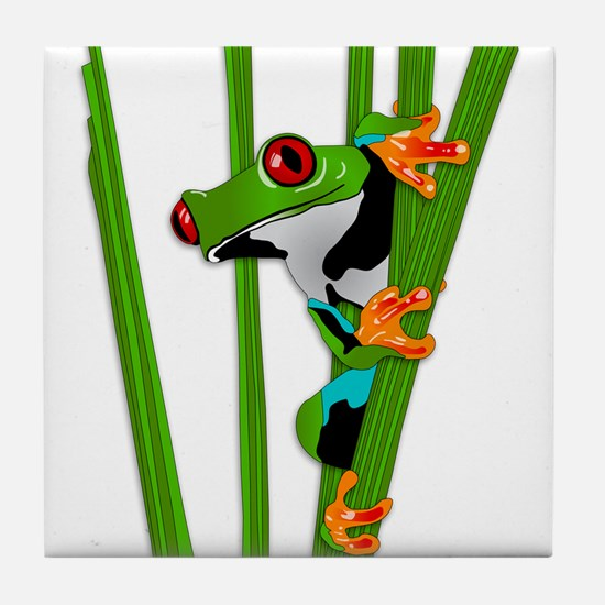 Cute frog on grass Tile Coaster