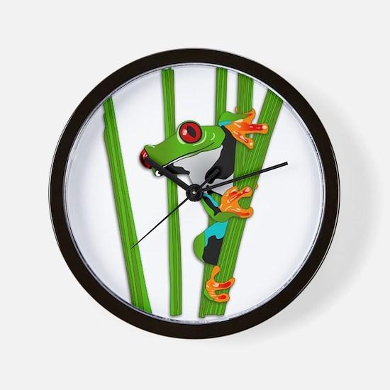 Cute frog on grass Wall Clock