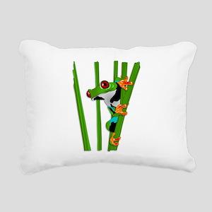 Cute frog on grass Rectangular Canvas Pillow