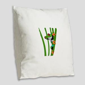 Cute frog on grass Burlap Throw Pillow