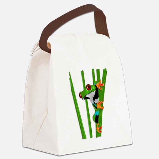 Cute frog on grass Canvas Lunch Bag