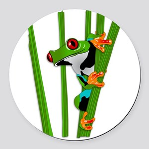Cute frog on grass Round Car Magnet