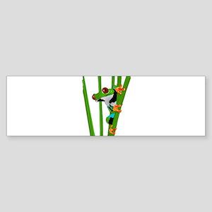 Cute frog on grass Bumper Sticker
