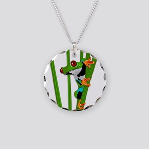 Cute frog on grass Necklace Circle Charm