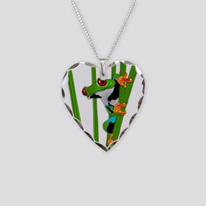 Cute frog on grass Necklace Heart Charm