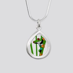 Cute frog on grass Necklaces