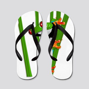Cute frog on grass Flip Flops
