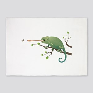Chameleon catching insect 5'x7'Area Rug