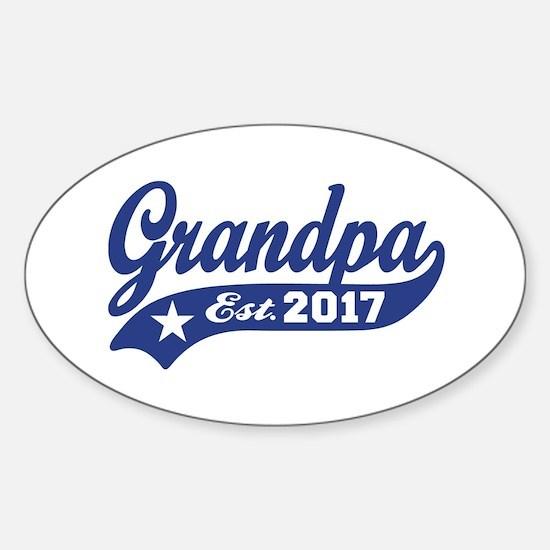Grandpa Est. 2017 Sticker (Oval)