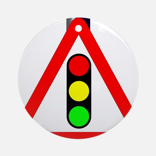 Men at Work Traffic Sign Round Ornament