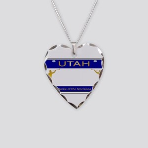 Utah Plate Necklace Heart Charm