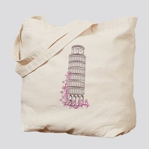 Beautiful floral leaning tower of pisa Tote Bag