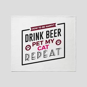 Be Happy Drink Beer Pet Cat Dark Throw Blanket