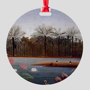 The Flamingos Round Ornament