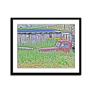 Old truck in Paradise Framed Panel Print