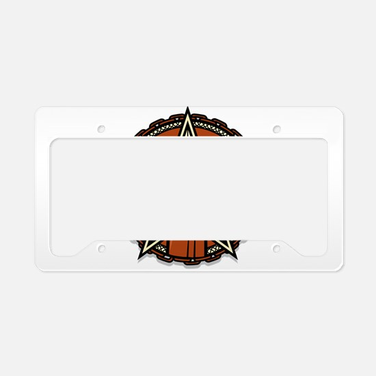 Circular logo fist star mater License Plate Holder