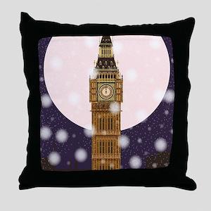 London Christmas Eve Throw Pillow