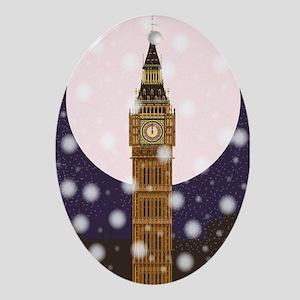 London Christmas Eve Oval Ornament