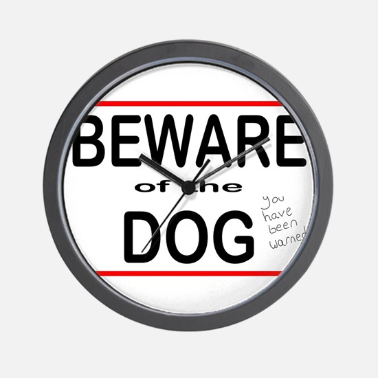 Beware Dog Wall Clock