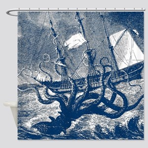 Giant Squid Kraken Shower Curtain