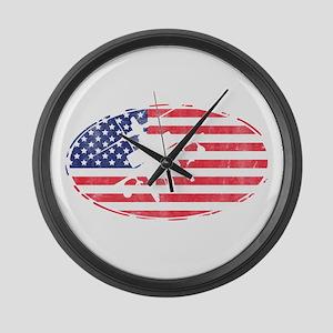 American Flag Apache T-shirt Large Wall Clock