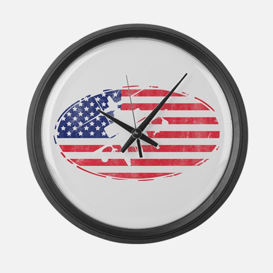 American Flag Apache T-shirt Large Wall Clock
