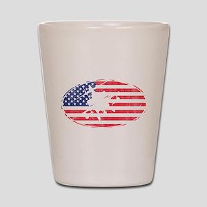 American Flag Apache T-shirt Shot Glass