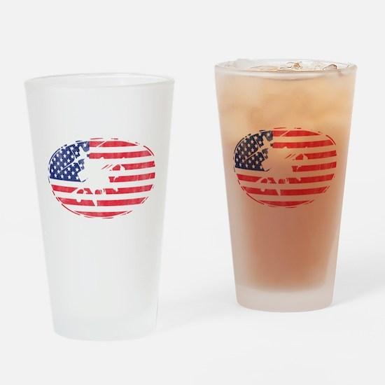 American Flag Apache T-shirt Drinking Glass