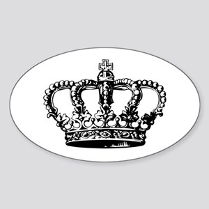 Black Crown Oval Sticker