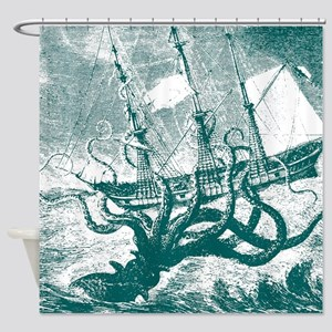 Giant Squid Kraken Shower Curtain