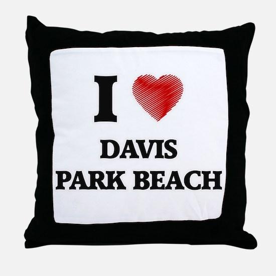 I love Davis Park Beach New York Throw Pillow