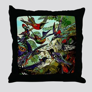 Beautiful Abstract Humming Birds Throw Pillow
