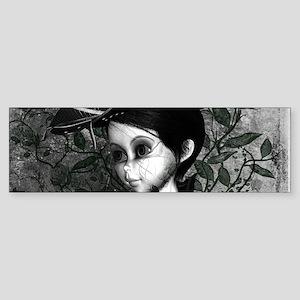 Cute girl in black and white Bumper Sticker
