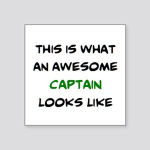 "awesome captain Square Sticker 3"" x 3"""