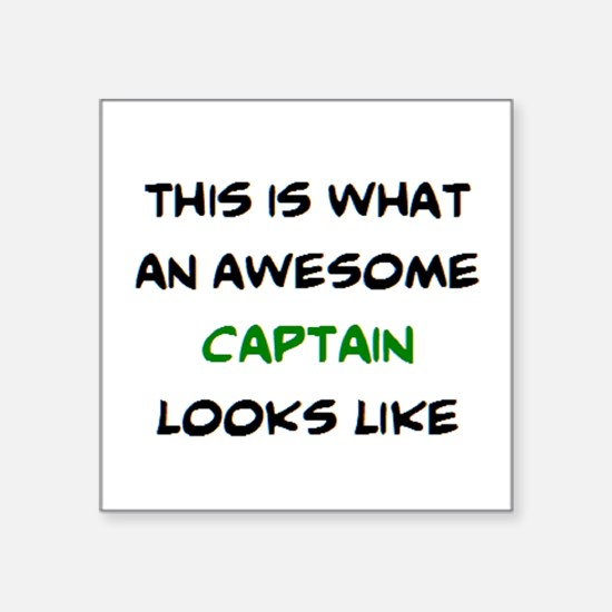 """awesome captain Square Sticker 3"""" x 3"""""""