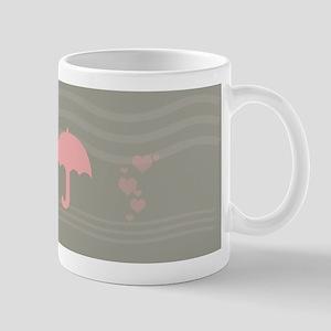 Pink Umbrella Grey Mugs