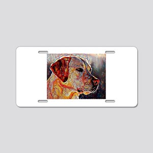 Yellow Lab: A Portrait in O Aluminum License Plate