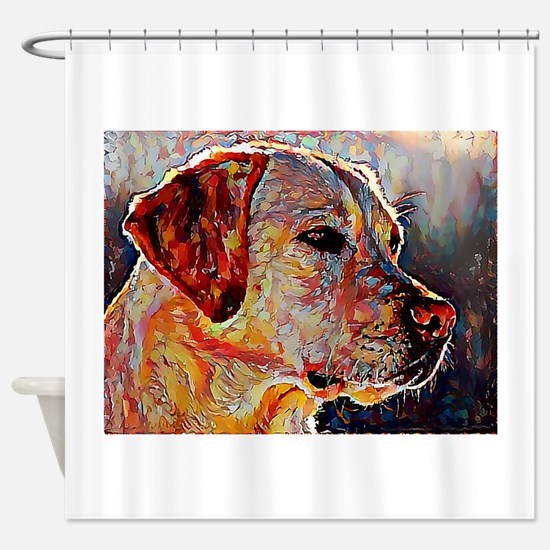 Yellow Lab: A Portrait in Oil Shower Curtain