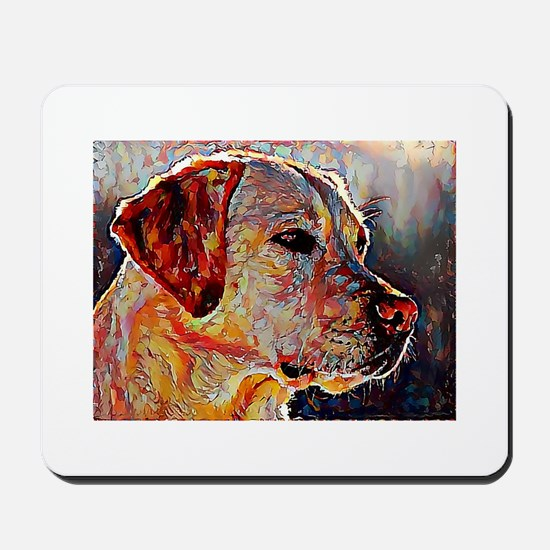 Yellow Lab: A Portrait in Oil Mousepad