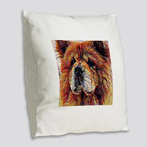 Chow Chow: A Portrait in Oil Burlap Throw Pillow