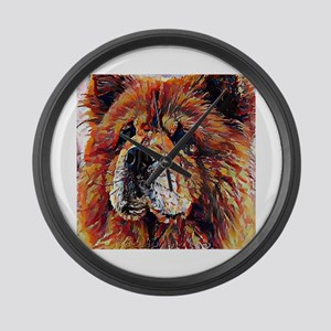 Chow Chow: A Portrait in Oil Large Wall Clock