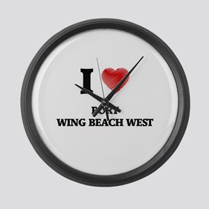 I love Port Wing Beach West Wisco Large Wall Clock