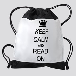 Keep Calm and Read On Reading Drawstring Bag