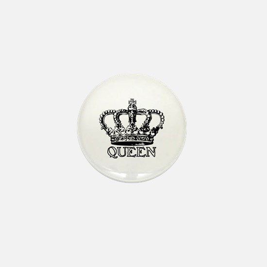 Queen Crown Mini Button
