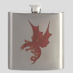 Funny dragon design graphic Flask