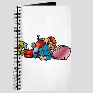 Cartoon kid with piggy bank Journal