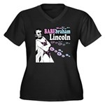 Babebraham Lincoln Women's Plus Size V-Neck Dark T